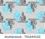 seamless vintage pattern with... | Shutterstock .eps vector #701644132