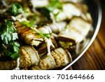 rolls of eggplant with cheese... | Shutterstock . vector #701644666