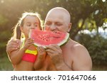 grandfather and granddaughter... | Shutterstock . vector #701647066