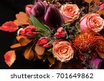 Colorful Fall Bouquet On Black...
