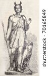 Small photo of Antique illustration of a decorative Statue - by Fulconis - in Louvre Museum, portraying Actaeon. From drawing of Marc, published on L'Illustration, Journal Universel, Paris, 1860