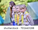 czech boy and girl scouts... | Shutterstock . vector #701663188