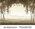 sunrise landscape. vector misty ... | Shutterstock .eps vector #701665318