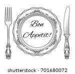 bon appetit. plate  fork and... | Shutterstock .eps vector #701680072