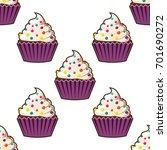 cupcake vector seamless pattern.... | Shutterstock .eps vector #701690272