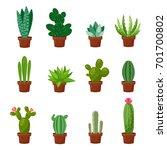 set of desert or room green... | Shutterstock .eps vector #701700802
