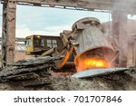 unloading of hot slag by truck... | Shutterstock . vector #701707846