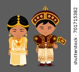 sri lankans in national dress... | Shutterstock .eps vector #701715382