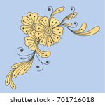 colorful flower henna tattoos ... | Shutterstock .eps vector #701716018