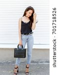 young stylish woman wearing... | Shutterstock . vector #701718526