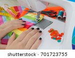 woman hand on sewing machine... | Shutterstock . vector #701723755