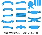 vector set of blue ribbons and... | Shutterstock .eps vector #701728228