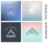 outline mountain icon set.... | Shutterstock .eps vector #701734516