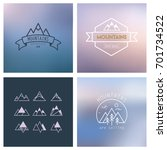 outline mountain icon set.... | Shutterstock .eps vector #701734522