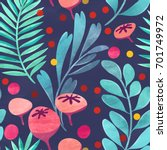 seamless floral pattern on...   Shutterstock . vector #701749972