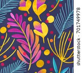 seamless floral pattern on...   Shutterstock . vector #701749978