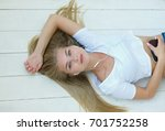 portrait of a resting beautiful ... | Shutterstock . vector #701752258