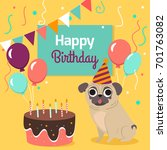 happy birthday card with funny... | Shutterstock .eps vector #701763082