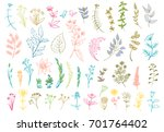 vector color set leaves ... | Shutterstock .eps vector #701764402