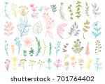 vector color set leaves ... | Shutterstock .eps vector #701764402