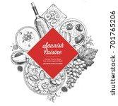 spanish cuisine label. a set of ...   Shutterstock .eps vector #701765206