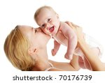 Mother With Baby Isolated On...