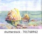 seascape stones in the sea hand ...   Shutterstock . vector #701768962