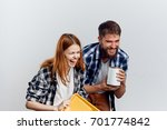 woman with a man  repair ... | Shutterstock . vector #701774842