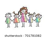 teacher with small children... | Shutterstock . vector #701781082