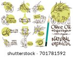 olive branches and bottles with ... | Shutterstock .eps vector #701781592