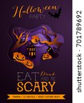 happy halloween poster ... | Shutterstock .eps vector #701789692