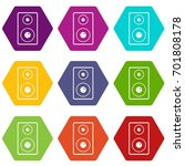 subwoofer icon set many color... | Shutterstock .eps vector #701808178