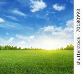 Green Field And Bright Sun.