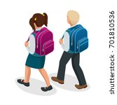 isometric boy and girl back to... | Shutterstock .eps vector #701810536