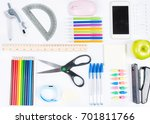 school supplies on white... | Shutterstock . vector #701811766