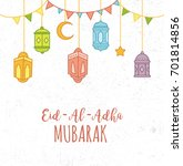 cute eid al adha greeting card... | Shutterstock .eps vector #701814856