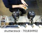 hands of barrsta adult man... | Shutterstock . vector #701834902