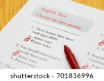 english test with red pen on...   Shutterstock . vector #701836996
