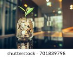 plant growing out of coins with ... | Shutterstock . vector #701839798