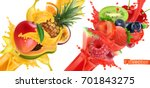 fruit burst. splash of juice.... | Shutterstock .eps vector #701843275