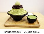 bingsu green tea with red bean  ... | Shutterstock . vector #701855812