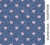 Jeans Background With Hearts....