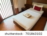 Stock photo the interior of a hotel room and single bed 701863102