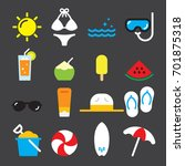 summer color icons | Shutterstock .eps vector #701875318