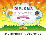 certificate kids diploma ... | Shutterstock .eps vector #701878498