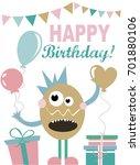 monster party invitation card | Shutterstock .eps vector #701880106