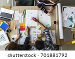 group of people brainstorming... | Shutterstock . vector #701881792