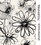vector flowers seamless pattern.... | Shutterstock .eps vector #701894986