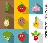 healthy vegetables icons set.... | Shutterstock .eps vector #701897956