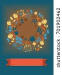graceful floral greeting card.... | Shutterstock . vector #701902462